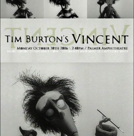 Angst Remember:Vincent (Tim Burton)- O primeiro trabalho em stop-motion de Tim Burton. Conta a história de Vincent Malloy, um garoto de 7 anos que quer ser como Vincent Price. A narração é do próprio Price. Legendas em português.